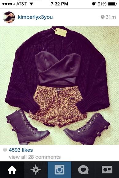 shoes leopard print shorts shirt high waisted short instagram black combat boots black cardigan sweater