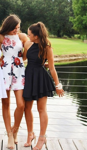 dress white flowers black homecoming dress halter dress white dress black dress