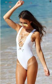 swimwear,white,lace up,high cut leg,plunging v neck,one piece swimsuit