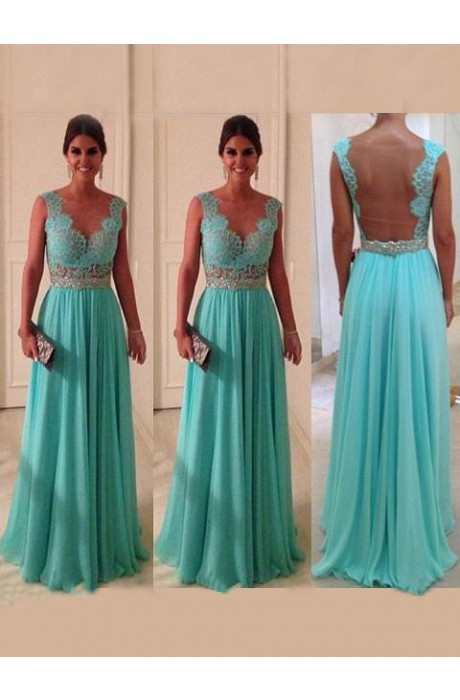 Line bateau floor length chiffon blue prom dress with appliques napd0005 sale at shopindress.com