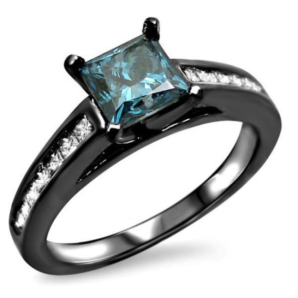 jewels princess cut blue diamond ring princess diamond engagement ring blue  diamond engagement ring channel set