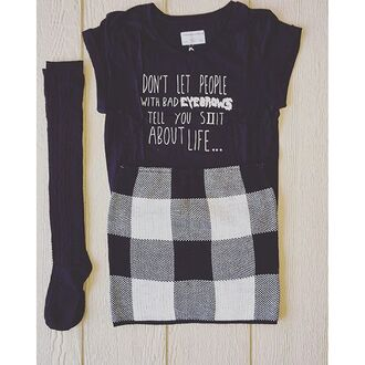 shirt divergence clothing eyebrows graphic tee grunge tee mini skirt knee high socks grunge 90s style vintage sweater skirt black eyebrows on fleek grunge t-shirt 28719