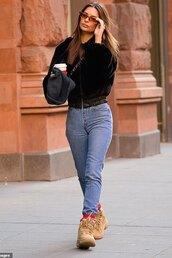 jacket,fur jacket,emily ratajkowski,model off-duty,streetstyle,fall outfits