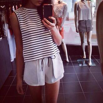 shorts sportswear pretty summer t-shirt stripes striped shirt tank top shirt top stripes. summer style white nautical rosy tumblr crewneck muscle tee