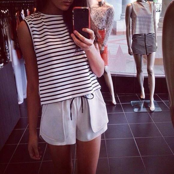 summer tank top striped shirt stripes pretty t-shirt shorts sportswear top shirt