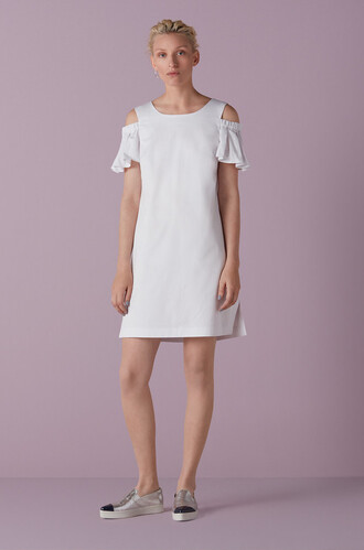 dress white dress open shoulder open shoulder dress mini dress straight dress summer summer dress summer outfits wedding clothes