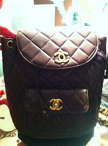 ff76d17d27e7 Chanel Brown Lambskin Backpack Gold | eBay