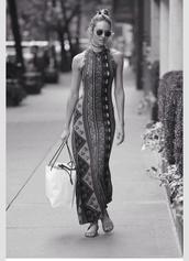 dress,cute,long dress,tribal pattern,model,candice swanepoel,victoria's secret model