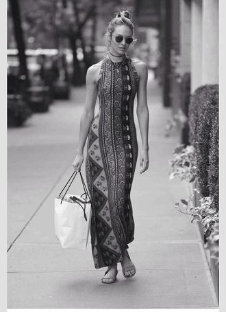 dress cute long dress tribal pattern model candice swanepoel victoria's secret model