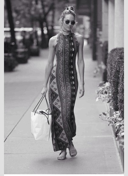 dress long dress cute tribal pattern model candice swanepoel victoria's secret model