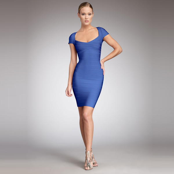 Mini Dress - Bqueen Cap-Sleeve Bandage Dress Blue | UsTrendy