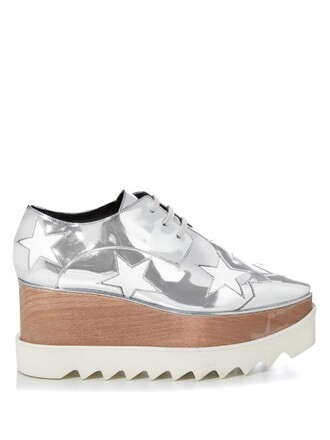 metallic shoes platform shoes lace silver