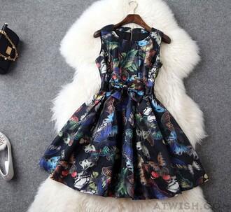 dress organza printing slim dress butterfly