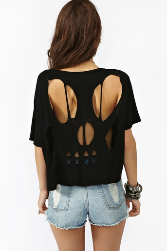 Skull cutout tee in  clothes tops at nasty gal