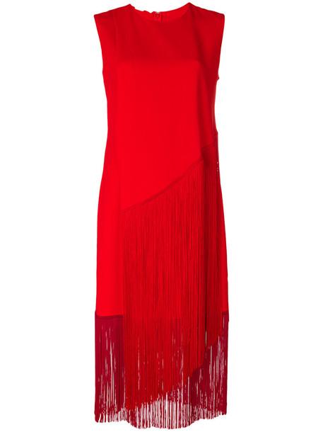 dress midi dress women midi spandex red
