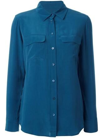 shirt button down shirt women blue silk top