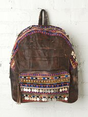 bag,tribal pattern,girl meets world,backpack,embellished,gypsy,leather backpack,leather bag,embellished bag,native american,embellished pocket,tv style,boy meets world,coin