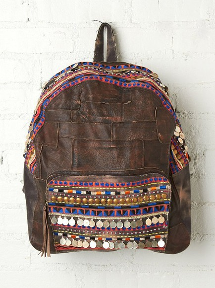 bag backpack leather backpack leather bag tribal pattern girl meets world embellished gypsy embellished bag native american embellished pocket tv style boy meets world