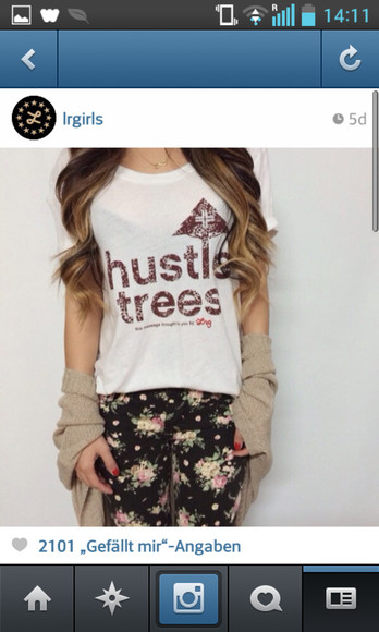 shirt pants white shirt hustle tree floral ombre