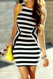 dress,stipe,tight-fitting dress,black and white dress