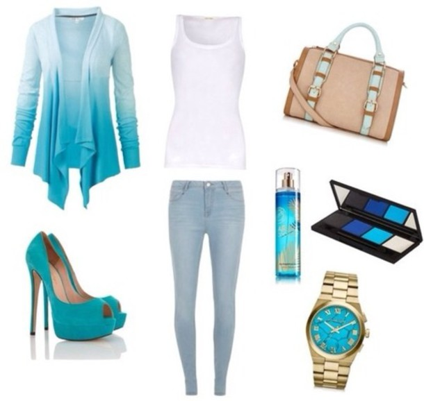 Jacket: turquoise, waterfall, cardigan, summer, jeans - Wheretoget