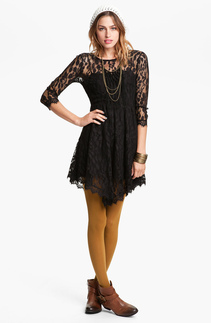 Black Handkerchief Hem Lace Dress — Bib   Tuck