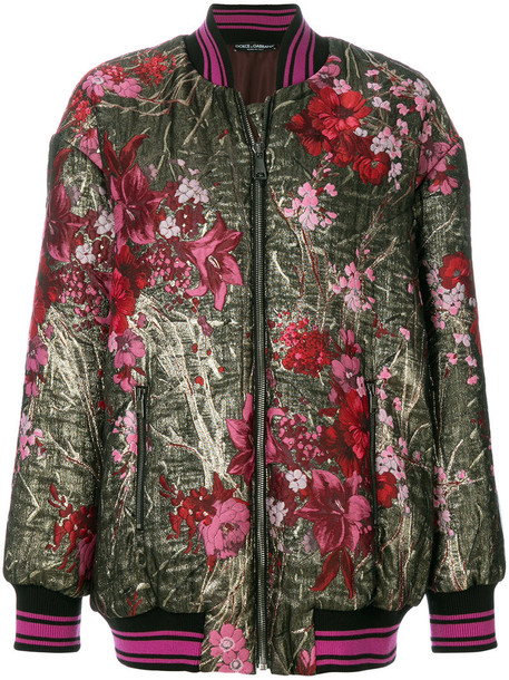Dolce & Gabbana - floral embroidered long-line bomber jacket - women - Polyester/Silk/Nylon - 40, Polyester/Silk/Nylon