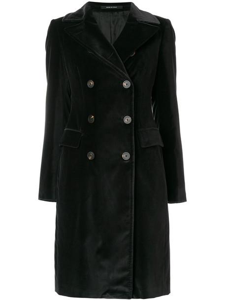 TAGLIATORE coat double breasted women spandex cotton black