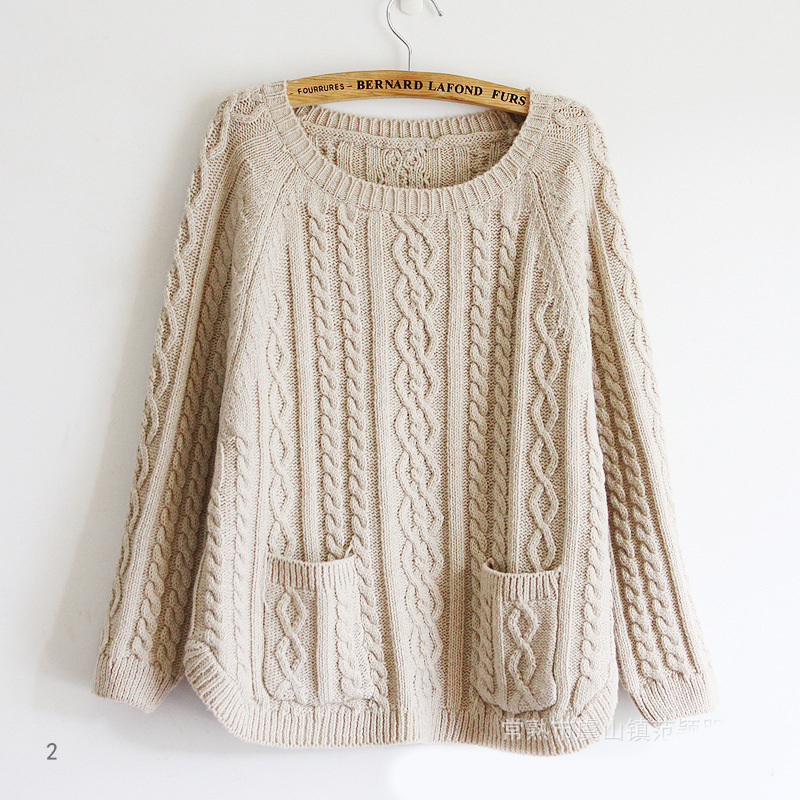 Retro batwing sleeve sweater with pockets