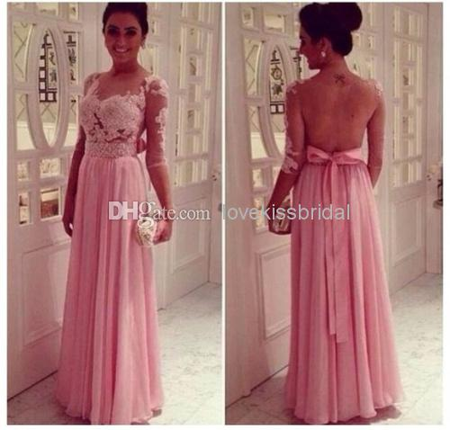 Discount New 2014 Elegant Pink Pearls See-Through Bow Halfe Sleeve A-Line Chiffon Long Prom Dresses Custom Made Elegant Formal Long Evening Dress Online with $113.88/Piece | DHgate