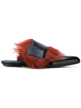 fur women mules leather black shoes