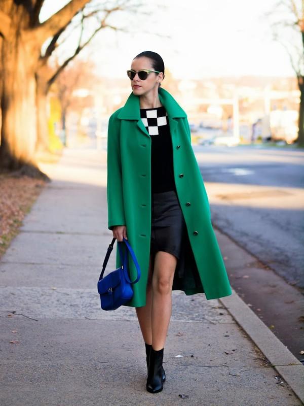 bittersweet colours coat sweater skirt bag shoes sunglasses green long coat