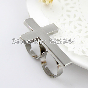 New Valentines Gift Fashion Silver Color Cross Alloy  Double Finger Rings for women 2014 bijoux jewelry hot sell-in Rings from Jewelry on Aliexpress.com