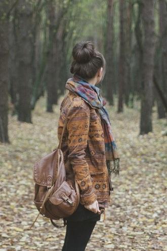 jacket indie hipster hipster sweater leather backpack bag vintage scarf alternative boho