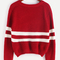Red striped chevron knit crop sweater -shein(sheinside)