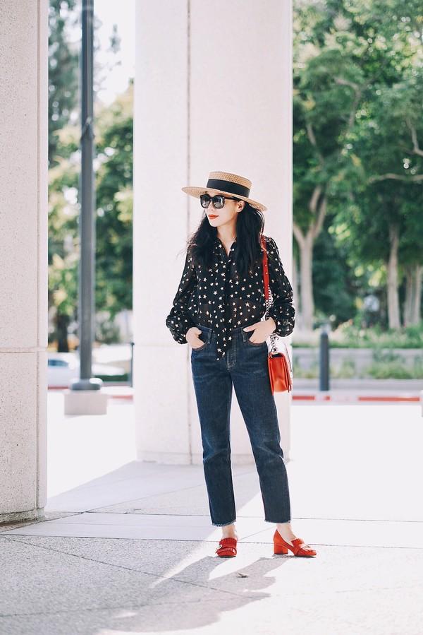 78593207c169c hallie daily blogger blouse jeans bag hat shoes sunglasses straw hat sun hat  shirt black shirt