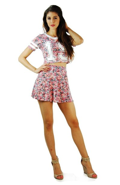 dress floral pink numbered crop tops two-piece two-piece ariana grande stage dress skirt ariana grande girly short dreas