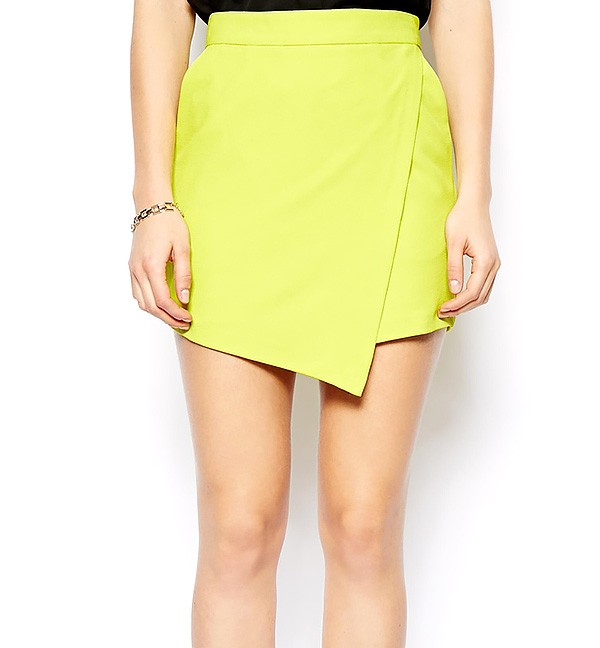 High Waist Skort With Wrap Effect Front