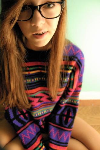 sweater drop shoulder tribal pattern geometric native