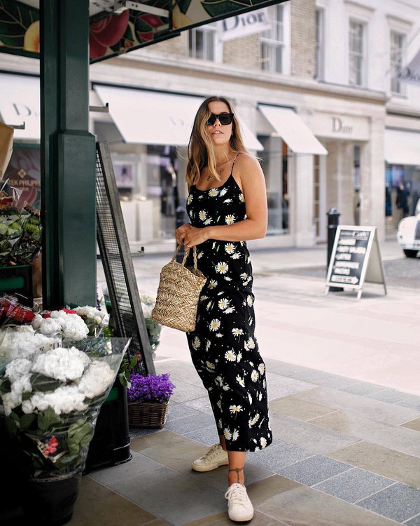 dress black dress midi dress floral floral dress bag shoes sunglasses