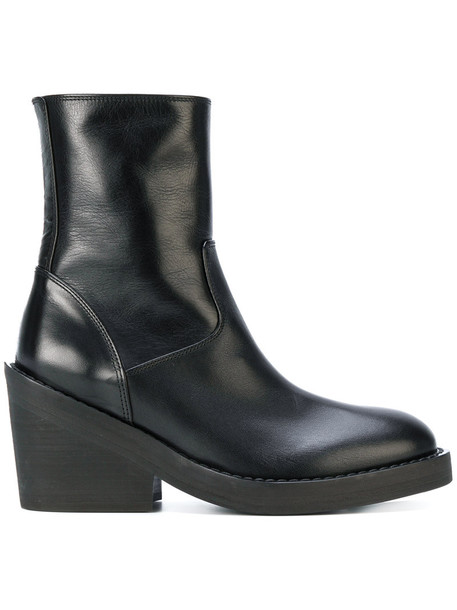 ANN DEMEULEMEESTER heel chunky heel women boots heel boots leather black shoes