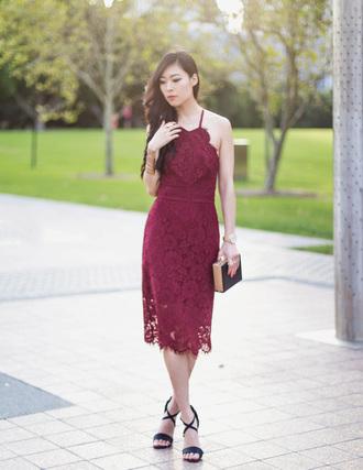 metallic paws blogger burgundy dress halter dress lace dress black heels