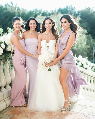 dress silk lilac gown