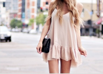 dress pink dress cute dress ruffle nude white flowy dress