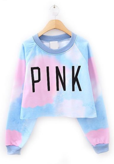 Blue Long Sleeve PINK Print Crop Sweatshirt