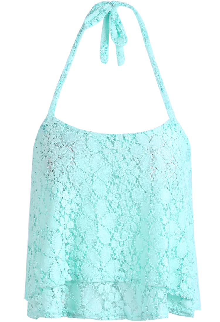 Green halter embroidered lace vest