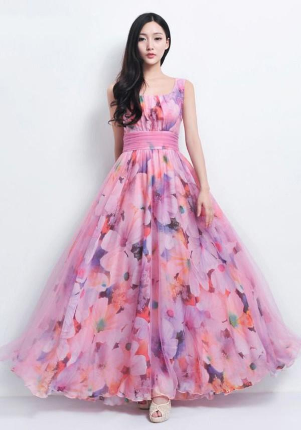 elegant dress pink dress floral dress a line dress swing dress long dress floral dress