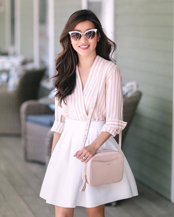 65701659dbde2 shirt tumblr striped shirt bag nude bag skirt mini skirt white skirt  sunglasses v neck.