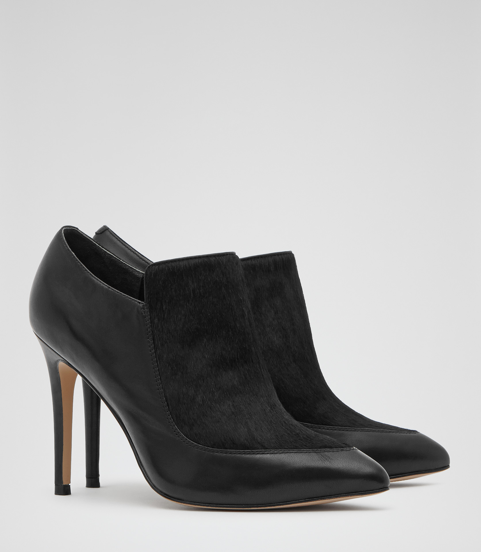 Kalie Black Textured Ankle Boots - REISS