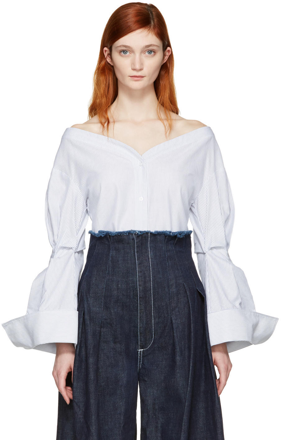 jacquemus draped longsleeved blouse women cotton. Black Bedroom Furniture Sets. Home Design Ideas